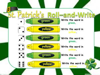 St. Patrick's Roll-and-Write *Spelling* *Word Work*