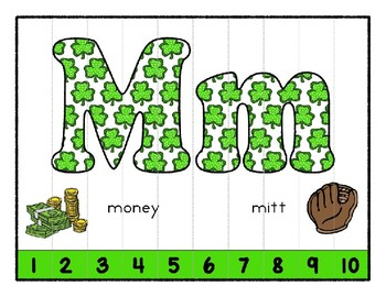St. Patrick's Shamrocks ~ Teaching by the Letter Holiday Strip Number Puzzles