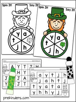 St. Patrick's Spinner Games - Math & Literacy, Pre-K Preschool