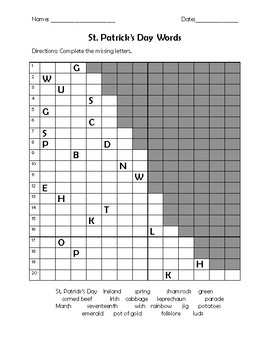 St. Patrick's Day Word Search and Activities