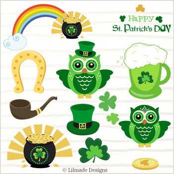 St. Patrick's clipart, rainbow clipart, Ireland clipart, pot of luck clipart