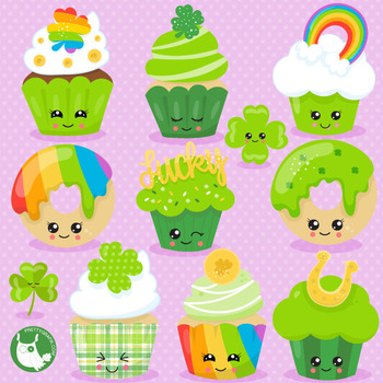 St-Patrick's cupcakes clipart commercial use, vector graphics  - CL1064