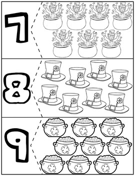 St. Patrick's day Coloring Quantity Puzzles | Numbers 1-10