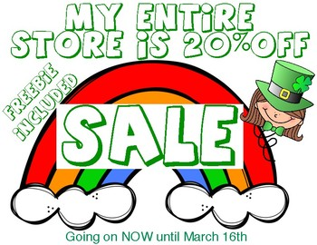St. Patrick's day FREEBIE and SALE