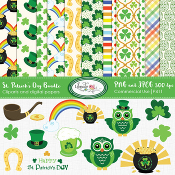 St. Patrick's digital papers and clipart bundle