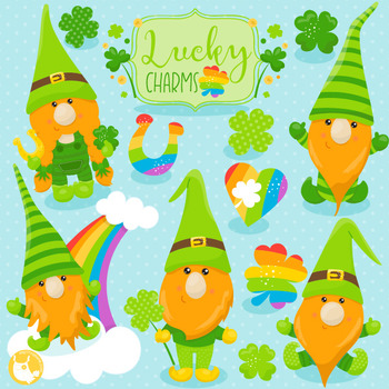 St-Patrick's gnomes clipart commercial use, vector graphics  - CL1060