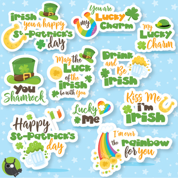 St-Patrick's word art clipart commercial use, vector graphics  - CL1069
