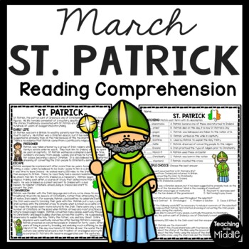 St. Patrick (the person) Reading Comprehension Worksheet, March, Ireland