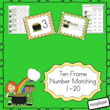 St. Patricks 1-20 ten frame math card match