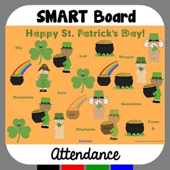 St. Patrick's Day SMART Board Attendance FREEBIE