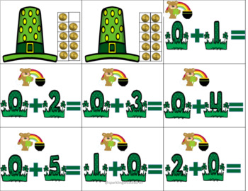 St. Patricks Counting 1-20-Addition to 10 and Subtraction to 5 Math Center