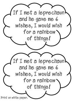 St. Patrick's Craftivity Wish Writing