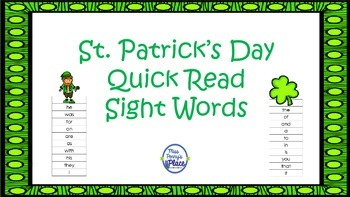 St. Patrick's Day Quick Read Sight Words