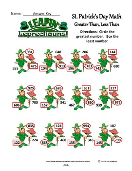 St. Patrick's Day Math Activities: St. Patrick's Day Math Drills