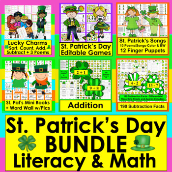 St. Patrick's Day Math and Literacy Bundle!  Save $5.00 #FillUpOnLuck ☘ ☘