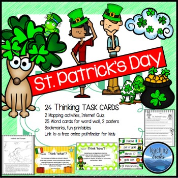 St Patrick's Day Task Cards: St Patrick's Day Writing Thinking Discussion