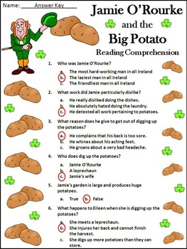 St. Patrick's Day Activities: Jamie O'Rourke and the Big Potato Activity Packet
