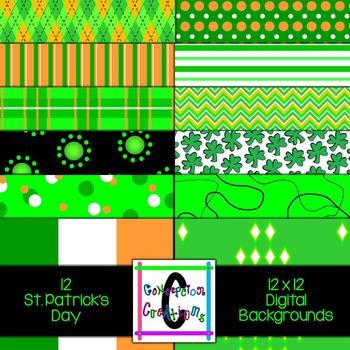 St. Patrick's Day 12 x 12 Digital Backgrounds