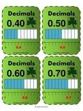 St Patrick's Day Decimals Flash Cards - Math - Grade 4, Grade 5 & Grade 6