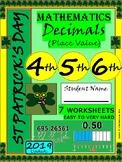 St Patrick's Day Decimals WorkSheets - Math - Grade 4, Grade 5 and Grade 6