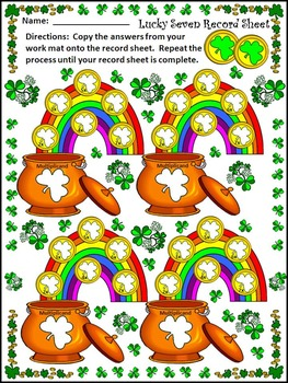 St. Patrick's Day Activities: Lucky 7 Pot of Gold Multiplication Math Activity