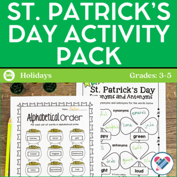 St. Patrick's Day Activities and Printables grades 3-5