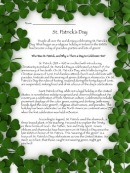 St. Patrick's Day Informational Text