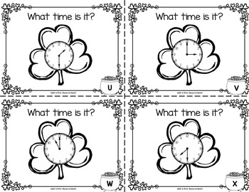 St. Patrick's Day Time Task Cards Hour and Half Hour