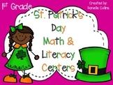 St. Patrick's Day 1st Grade Math & ELA Pack (22 CCSS Centers)