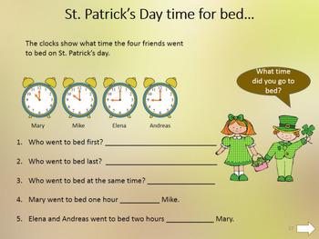 St. Patricks Day - 1st grade maths review