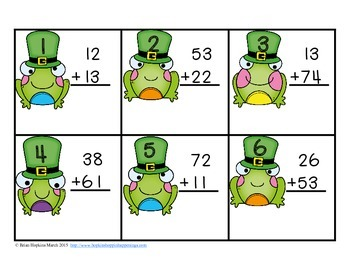 St. Patrick's Day 2 Digit Addition Without Regrouping Task Cards