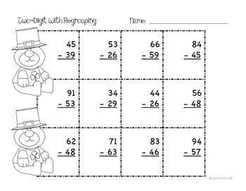 St. Patrick's Day Math Centers - 2 Digit Subtraction