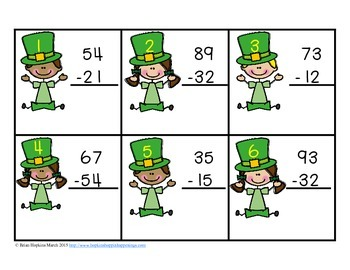 St. Patrick's Day 2 Digit Subtraction Without Regrouping Task Cards