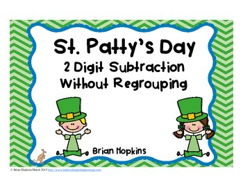 St. Patrick's Day 2 Digit Subtraction Without Regrouping T