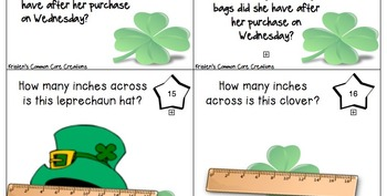 St. Patrick's Day 2nd Grade 30 Math Center Task Cards Crack the Code Common Core