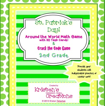 St. Patrick's Day 2nd Grade 30 Math Center Task Cards Crac