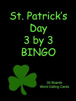 St. Patrick's Day 3 by 3 BINGO!