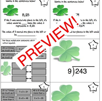 St. Patrick's Day 4th Grade 30 Math Center Task Cards Crack the Code Common Core