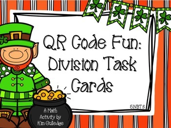 St. Patrick's Day 5th Grade Division with QR Code Fun Common Core 5.NBT.6