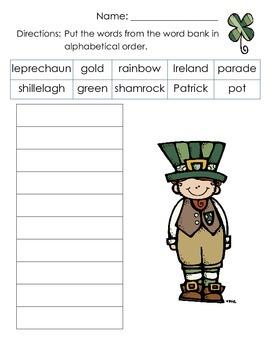 St. Patrick's Day ABC Order FREEBIE