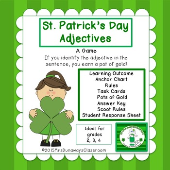 St. Patrick's Day ADJECTIVES:  a file folder game