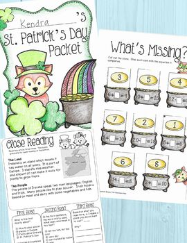 St. Patrick's Day Activities Packet for 1st Grade