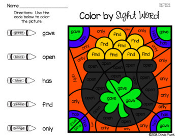 St. Patricks Day Activities Color By Sight Word Worksheets Morning Work