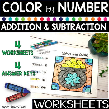 St. Patrick's Day Math - Solve and Color Worksheets