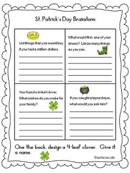 St. Patrick's Day Activities first, second, third grade