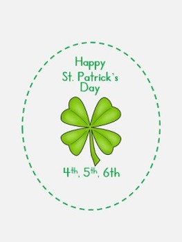 St. Patrick's Day Activities  fourth, fifth, sixth grade