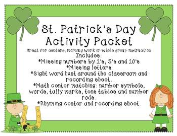 St. Patrick's Day Activity Packet math and language arts