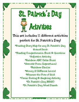 St. Patrick's Day Activity Set: 11 Different Activities