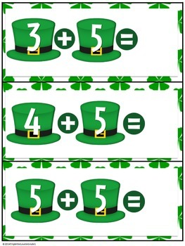 St. Patrick's Day Addition 1-10 Cards (Common Core Aligned)