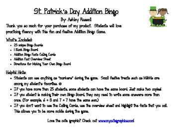 St. Patrick's Day Addition Bingo